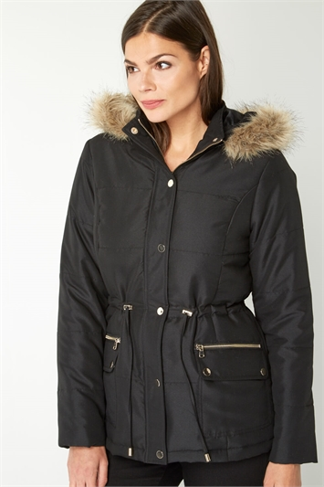 Short Parka Coat with Hood