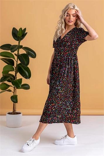 Black Ditsy Spot Print Button Down Dress