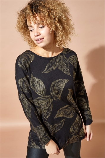 Metallic Leaf Print Top
