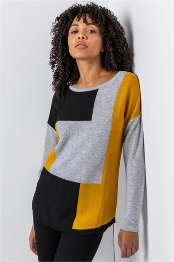 Amber Colour Block Ribbed Jumper, Image 1 of 5