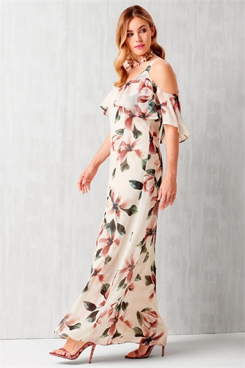 Cold Shoulder Chiffon Floral Maxi Dress