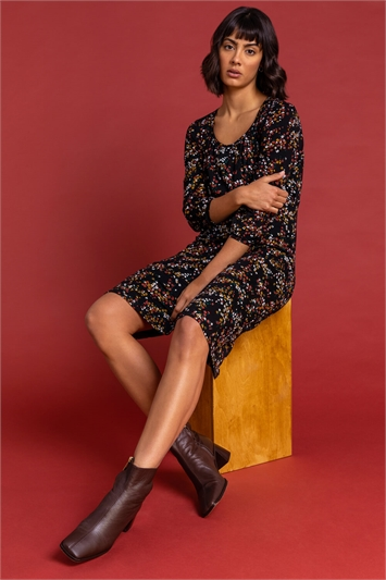 Rust Square Neck Ditsy Floral Dress, Image 1 of 6