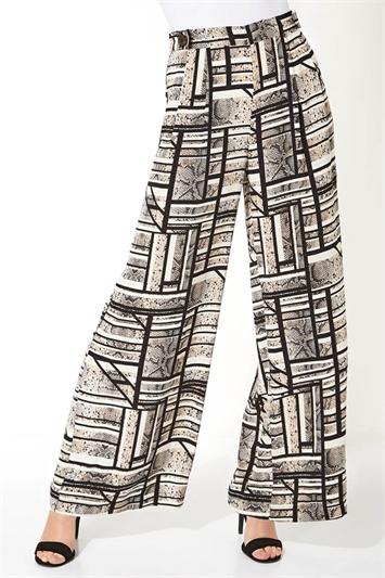 Mixed Stripe Snake Print Trousers