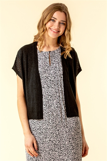 Tape Stitch Short Sleeve Shrug