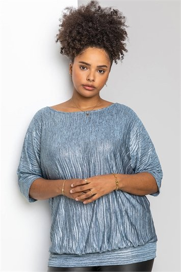 Silver Curve Shimmer Pleated Blouson Top