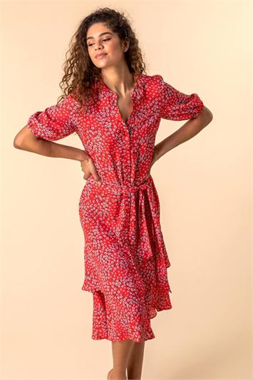 Ditsy Floral Frill Hem Midi Dress