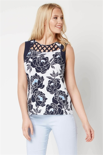 Sleeveless Neck Detail Floral Top