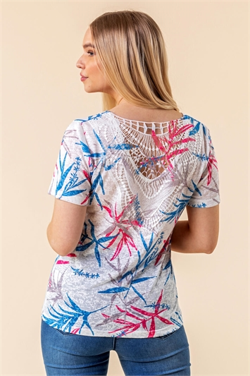 Leaf Print Lace Back Top