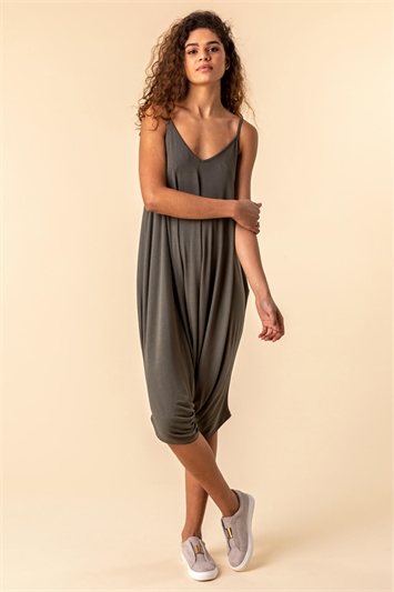 Cropped V-Neck Hareem Jumpsuit