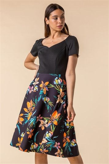 Black Tropical Print Fit & Flare Dress, Image 1 of 4