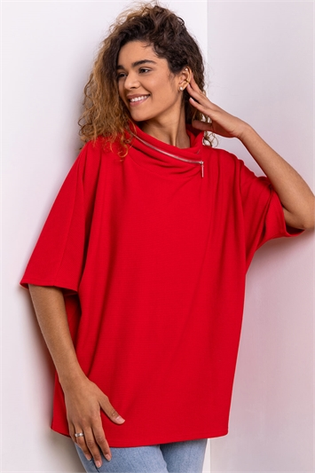 Red Zip Detail Ribbed Cowl Neck Top
