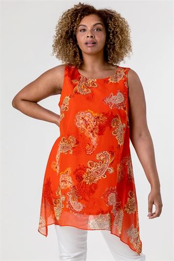 Orange Curve Paisley Print Chiffon Vest Top