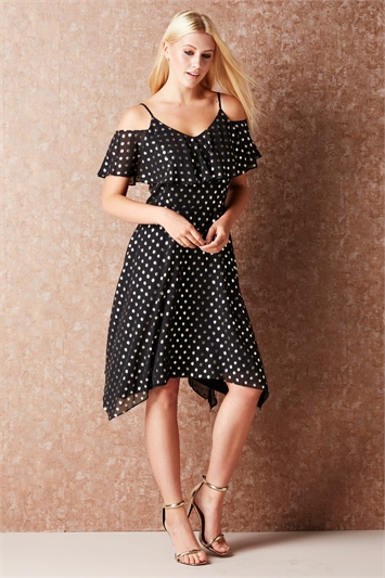 Polka Dot Hanky Hem Dress