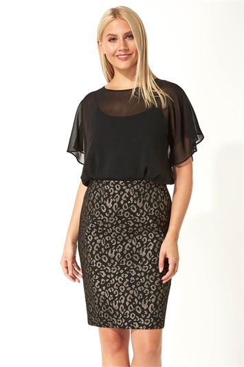 Chiffon Overlay Animal Print Dress