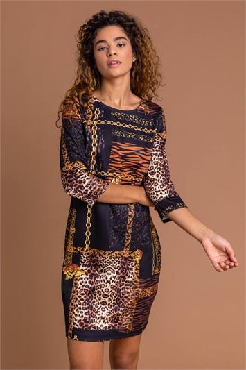 Black Animal Chain Print Shift Dress