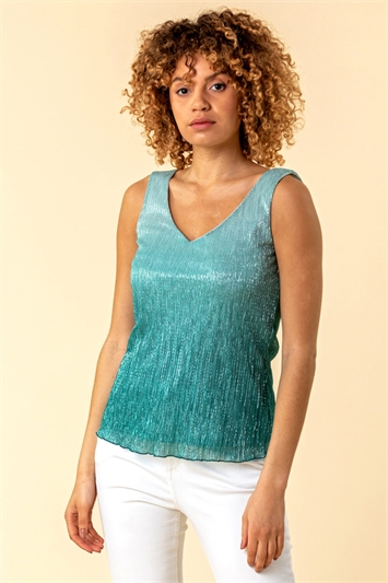 Ombre Metallic Plisse Vest Top