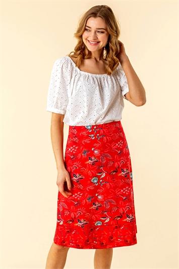A Line Tropical Print Skirt