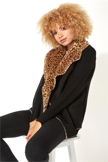Animal Print Faux Shearling Coatigan
