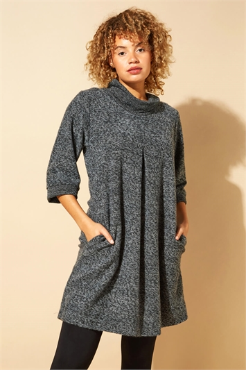 Tweed Cowl Neck Pocket Dress