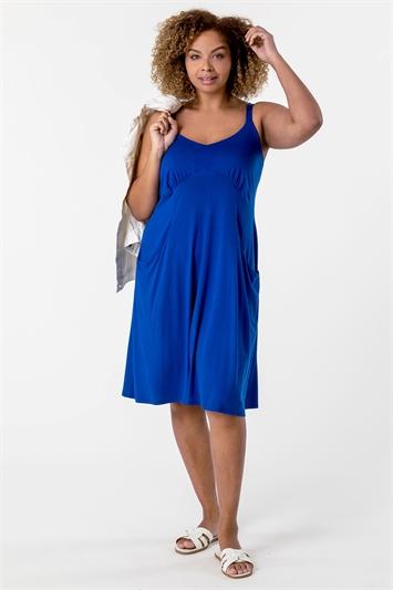Royal Blue Curve Strappy Pocket Sun Dress