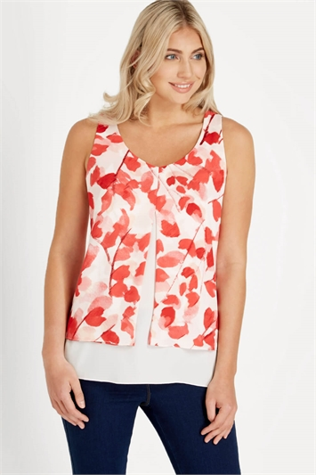 Floral Print Pleat Layered Top
