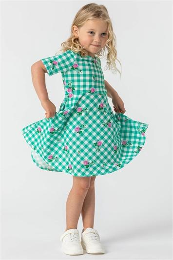 Green Girls Floral Check Print Skater Dress , Image 1 of 4