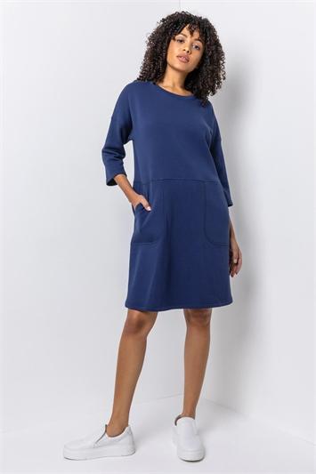 Navy Comfy Panel Pocket Dress, Image 1 of 4
