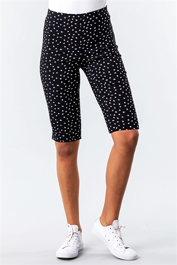 Polka Dot Stretch Knee Length Shorts