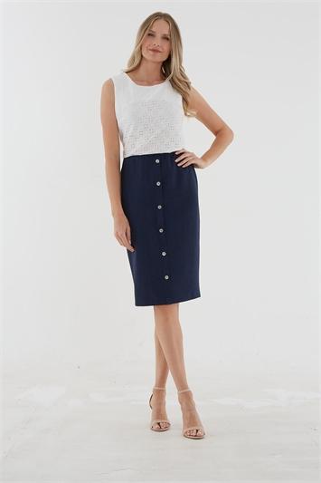 Julianna Knee Length Button Skirt