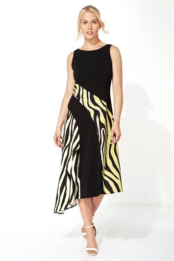 Zebra Print Block Asymmetric Dress