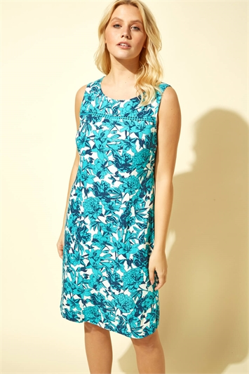 Back Button Floral Print Dress