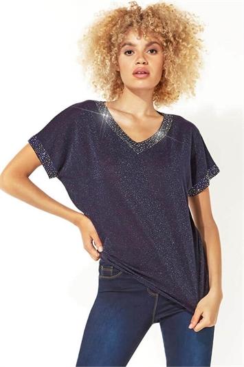 Midnight Blue Sparkle Embellished Knit Top