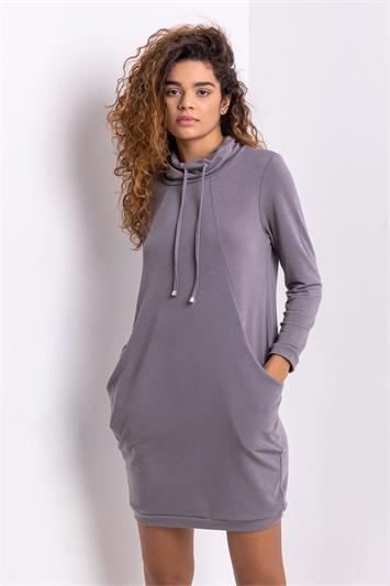 Grey Roll Neck Sweatshirt Dress, Image 1 of 5