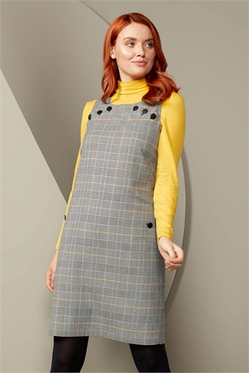 Check Button Pinafore Dress