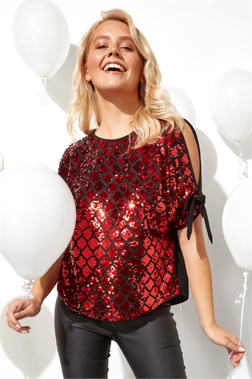 Sparkle Sequin Cold Shoulder Top