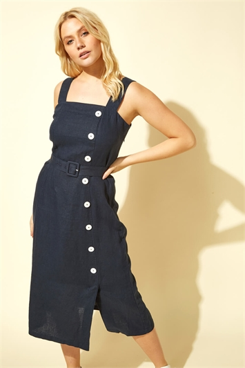 Side Button Belted Midi Dress