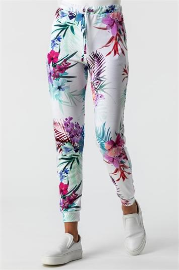 Ivory Tropical Floral Print Lounge Pants