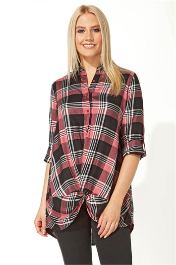 Lurex Check Twist Front Shirt