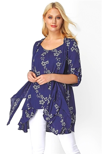 Navy Floral Print Crinkle Tunic, Image 1 of 8