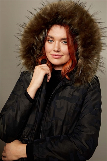 Camo Print Faux Fur Trim Hooded Coat