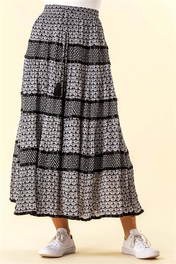 Monochrome Print Tiered Maxi Skirt