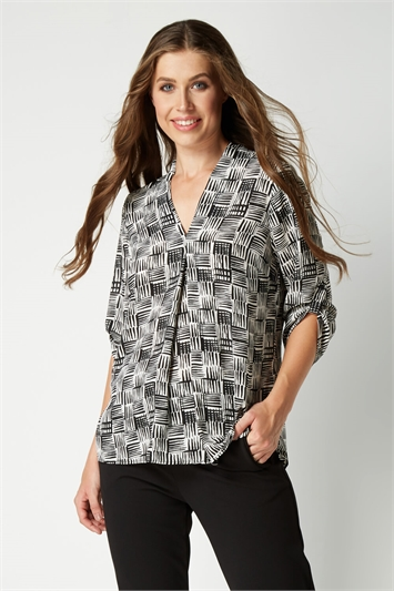 V Neck Front Pleat Top