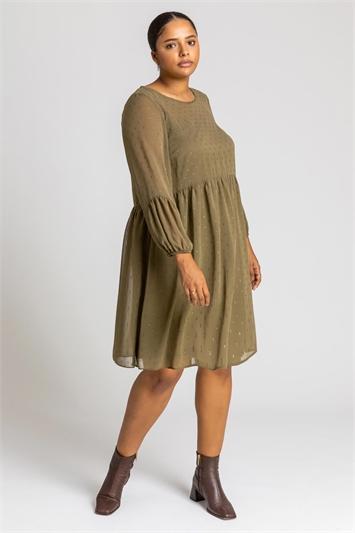 Khaki Curve Chiffon Spot Smock Dress