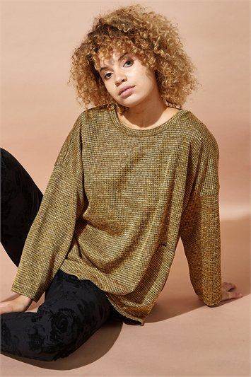 Long Sleeve Textured Jersey Top