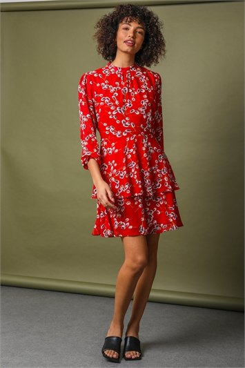 Red Floral Chiffon Tiered High Neck Dress, Image 1 of 5