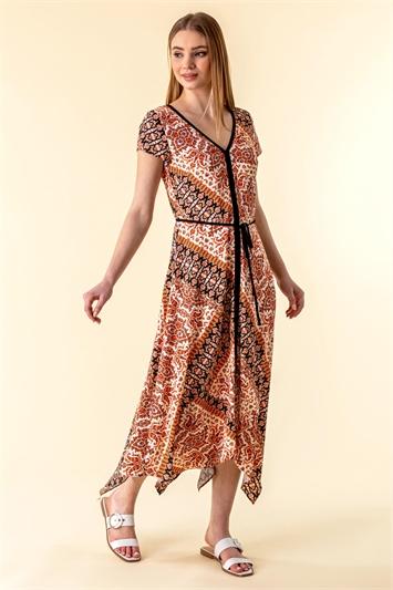 Orange Geo Contrast Print Hanky Hem Dress