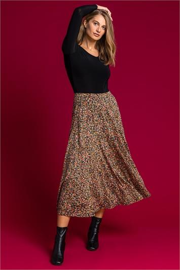 Multi Ditsy Floral Burnout Midi Skirt, Image 1 of 5