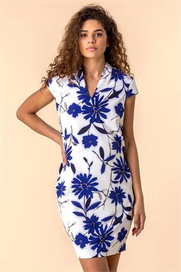 Floral Print Scuba Cocoon Dress