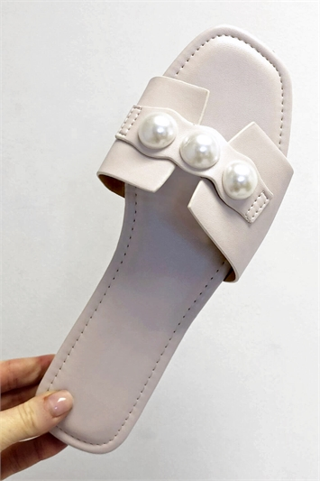 Pearl Detail Sliders Sandals