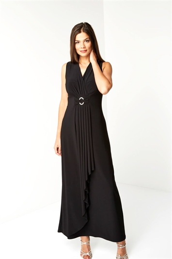 Waterfall Buckle Maxi Dress